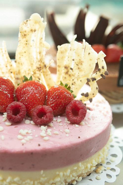 White Chocolate and Raspberry layered Cheesecake