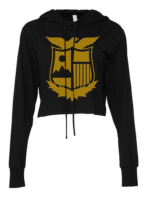 Black Cropped T-Shirt Hoodie