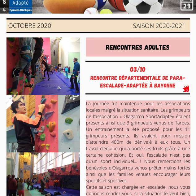 Newsletter Octobre 2020 - Sport Adapté 6