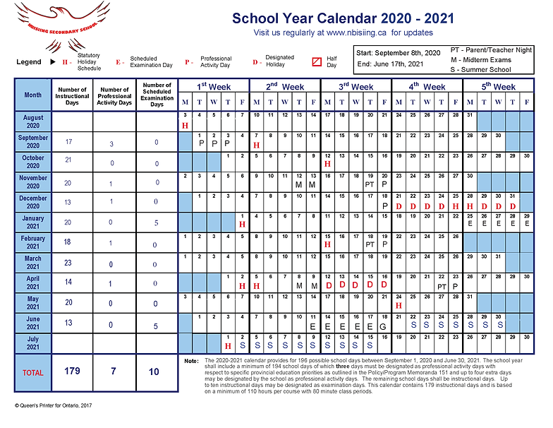 2020-2021 School Year Calendar - Revised