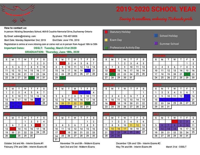 2019-2020 School Year Calendar, Parent a