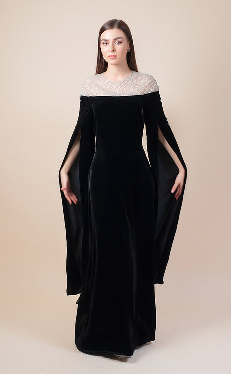 Wide Sleeves Velvet Dress