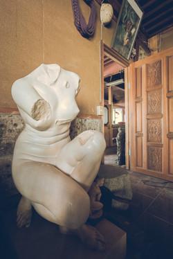 Bronze statue Abandoned hospital