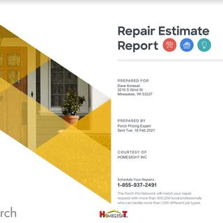 Porch Repair Estimate Report