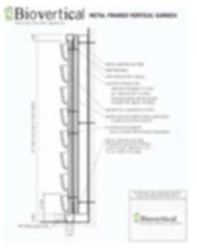 Cross Section drawing of a vertical garden installation and wall assembly
