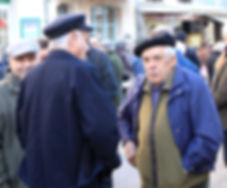 French Men at the Truffle Market Lalbenque, South West France.