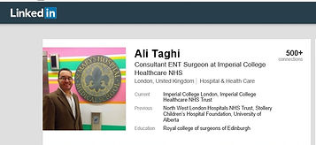 Ali taghi, ENT, London