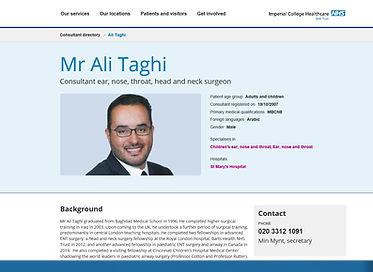 Ali taghi, London ENT, ENT london, Imperial, ENT NHS