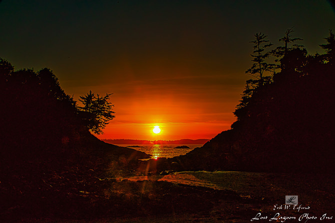 Sunset over Crystal Cove, Tofino, Vancouver Island, Bc, Canada