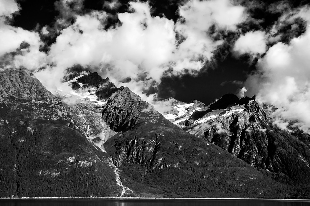 Alaskan mountains from the ferry between Haines and Juno
