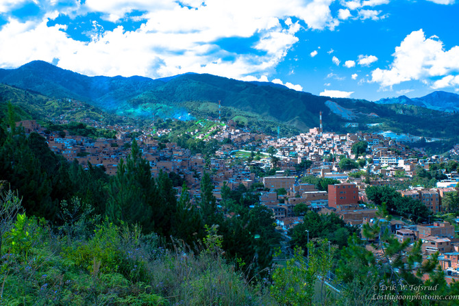 View on Medellin's suburbs east & south, Aburra Valley