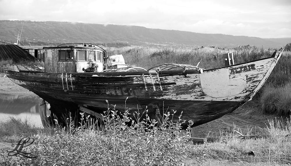 Abandoned wooden boat, Homer, AK