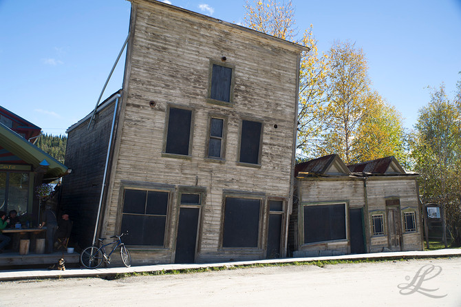 Old houses in Dawson City, Yukon, Canada and the result of building on permafrost