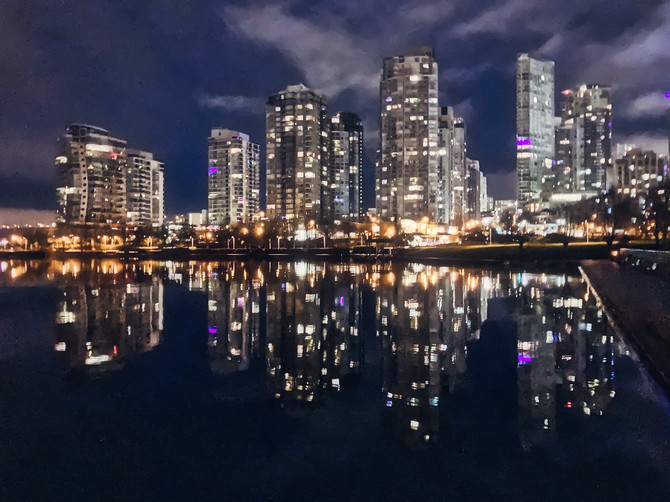 False Creek, reflections, Seawall, Vancouver, BC, Canada