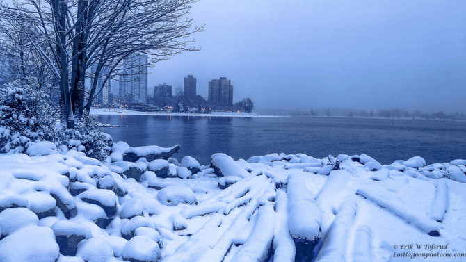 1st Beach,snow,West End, Vancouver,BC,Canada