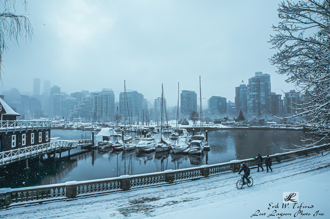 This is Vancouver, hiking and bycycling in snow. Seawall Coal Harbour, Vancouver, BC, Canada