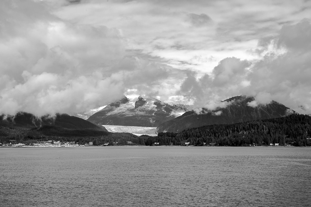 Mt. Mount Juneau and Mendenhall Glacier sheouded by clouds