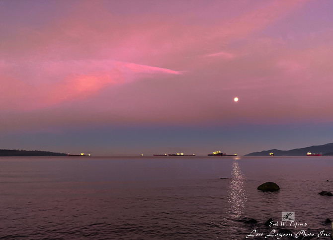 My Morning walk views on Seawall at English Bay anchorage, Vancouver, BC.Canada