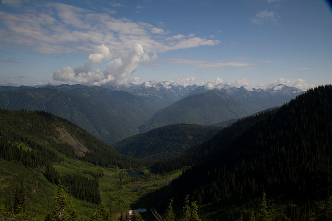View east from Idaho Peak towards Mt. Cody, Kootenays. B.C.