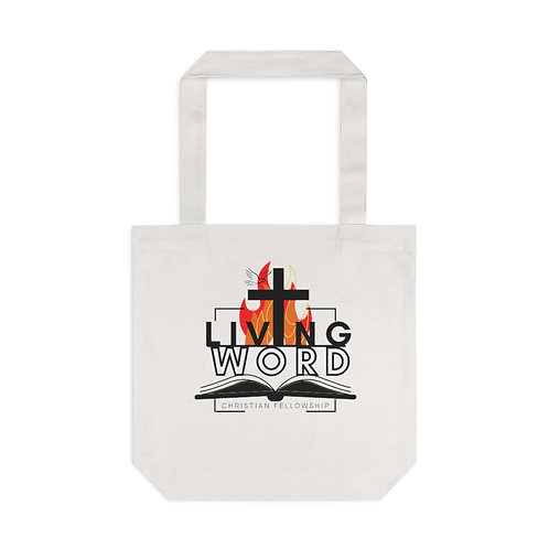 White Living Word Cotton Tote Bag