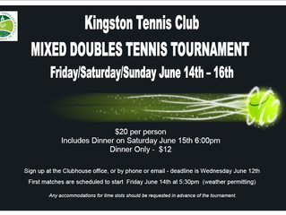 KTC Mixed Doubles Tournament this Weekend