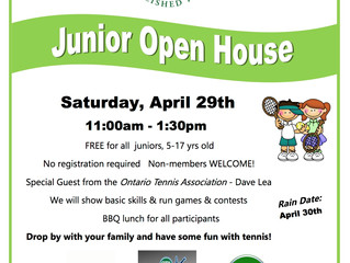 Junior Open House - April 29th, 11-1:30