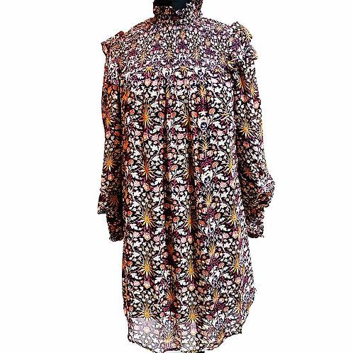 Vestido corto estampado florecitas