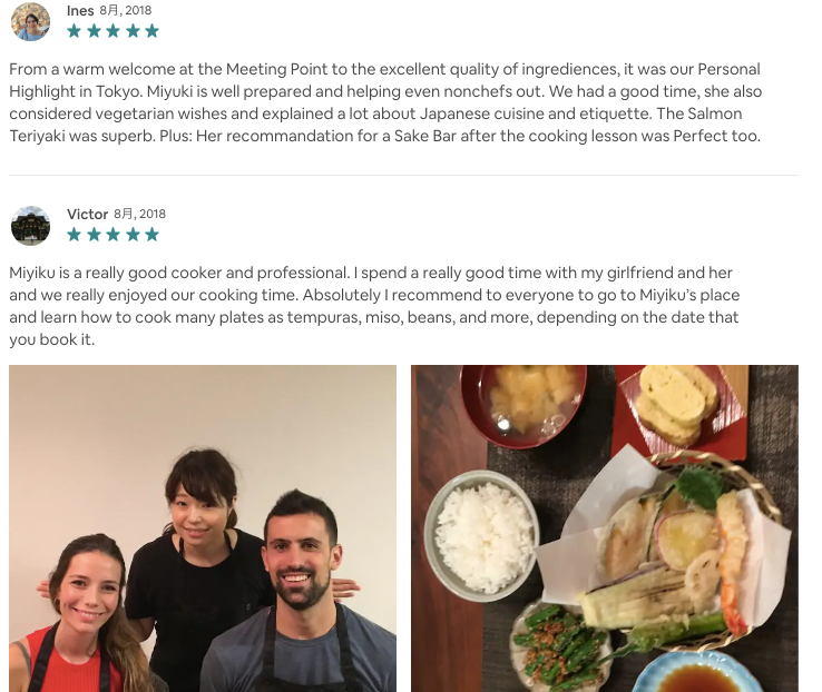 reviews of the Japanese cooking class