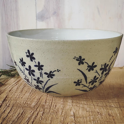 Large Wildflower Serving Bowl- Freehand painted stoneware