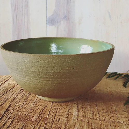 Large Stoneware Serving Bowl in Lichen