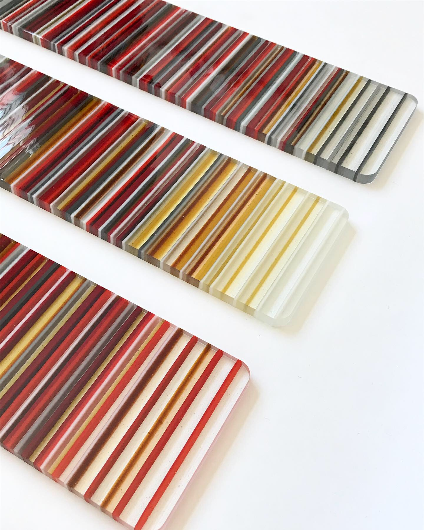 Sseries of four striped wall panels.