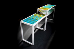 Set of two custom console tables.