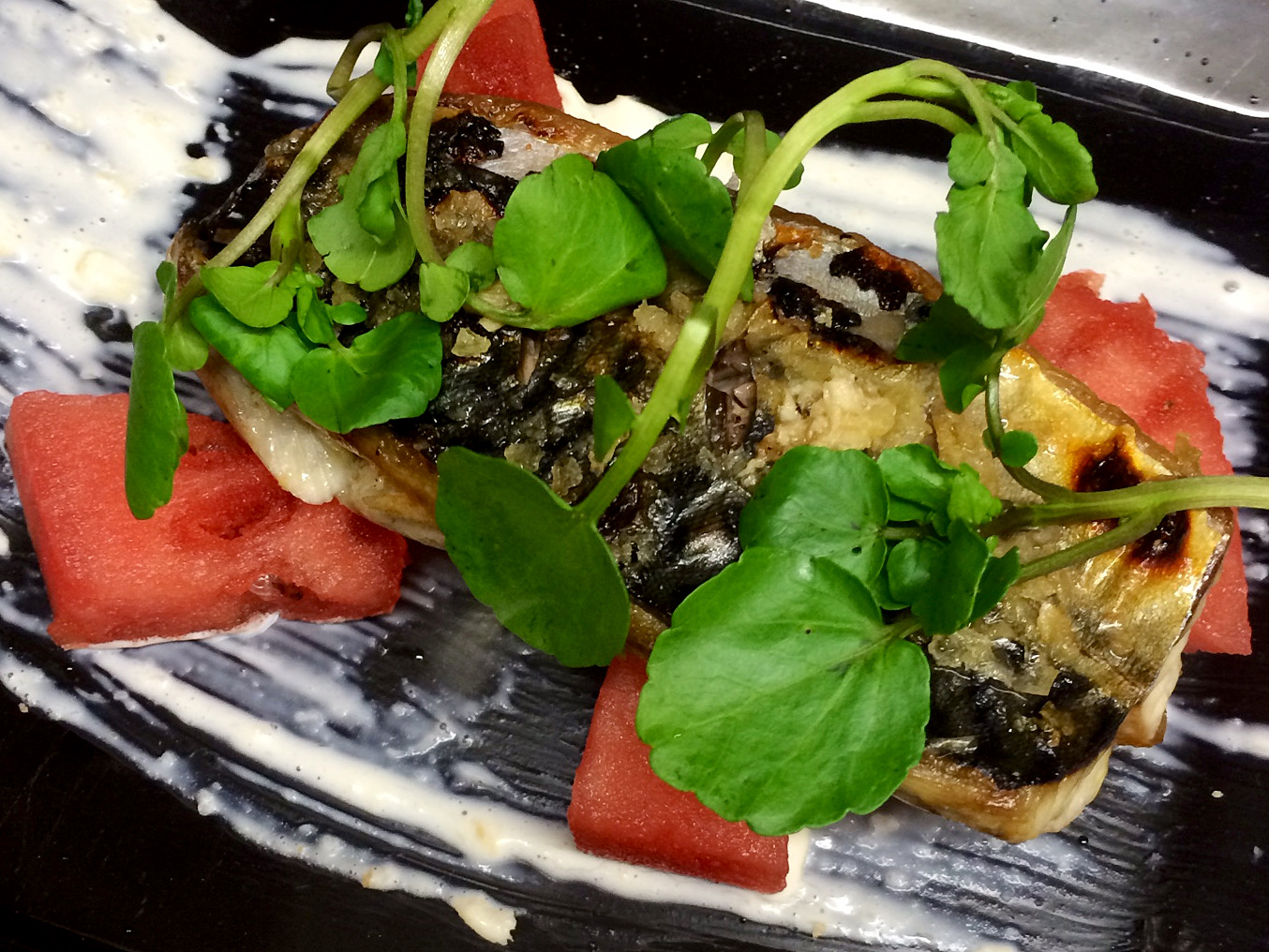 Grilled fillet of Mackerel served with watermelon, watercress & a horseradish cream copy