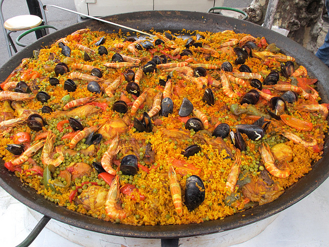 Giant seafood paella