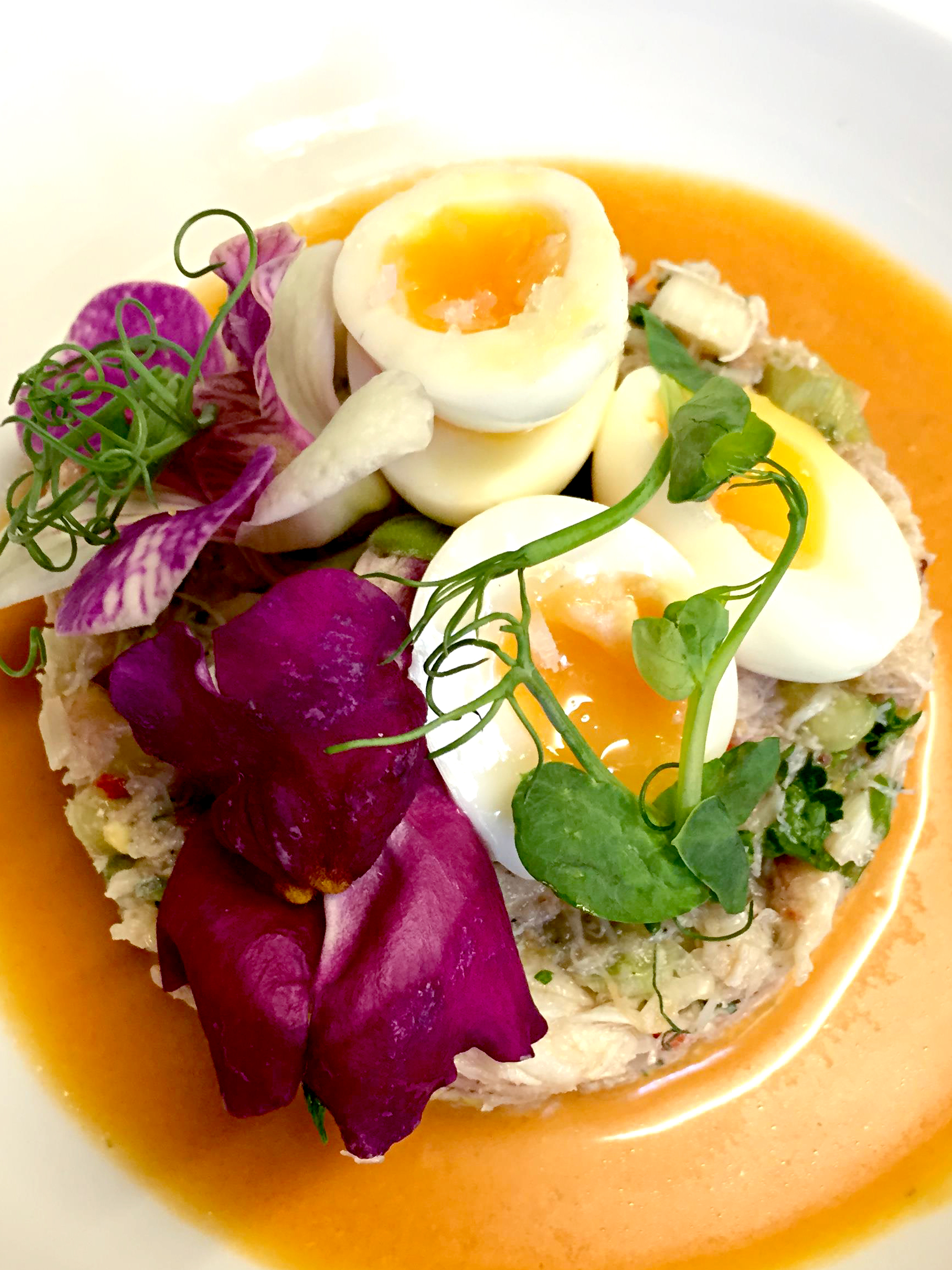 Crab, chilli & cucumber salad served with quails eggs & gazpacho dressing.2 JPG