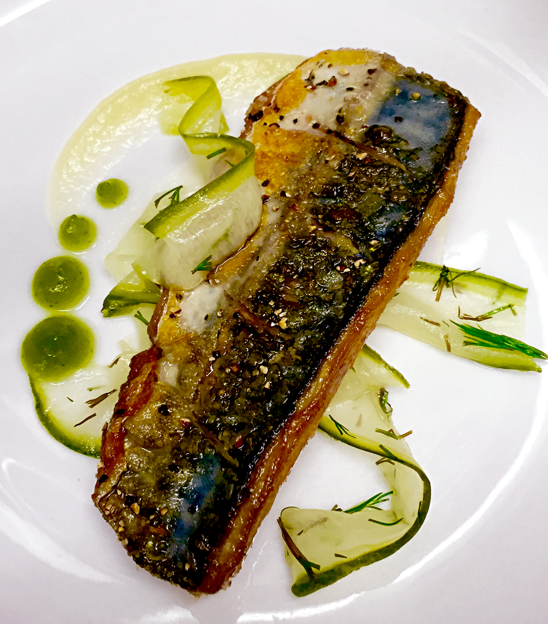 Pan fried fillet of Mackerel served with apple puree, dill pickled cucumber salad, dill gel & junipe