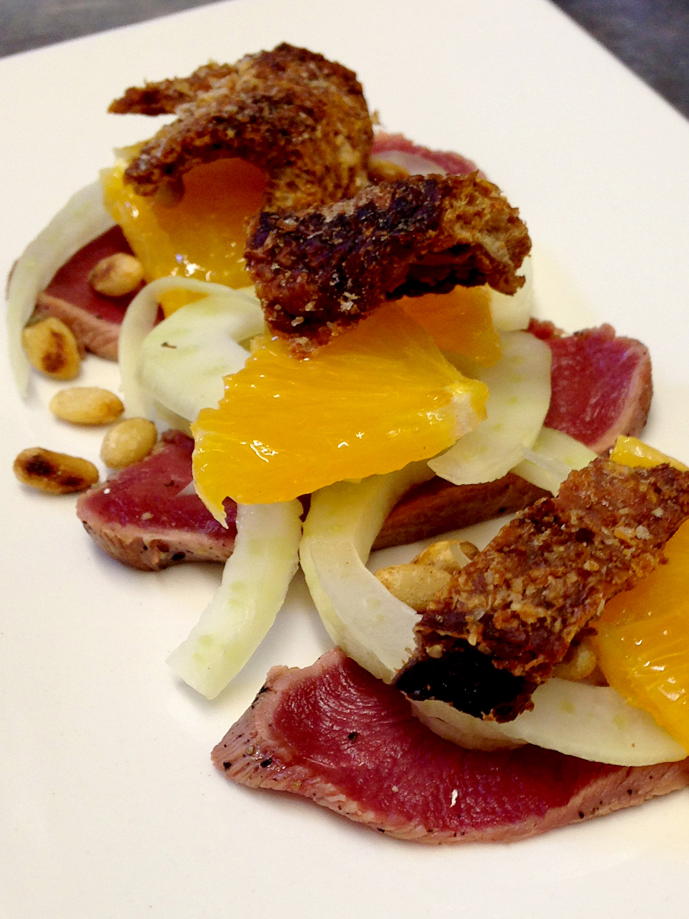 Duck Breast carpaccio with fennel, orange, toasted pine nuts & duck crackling copy