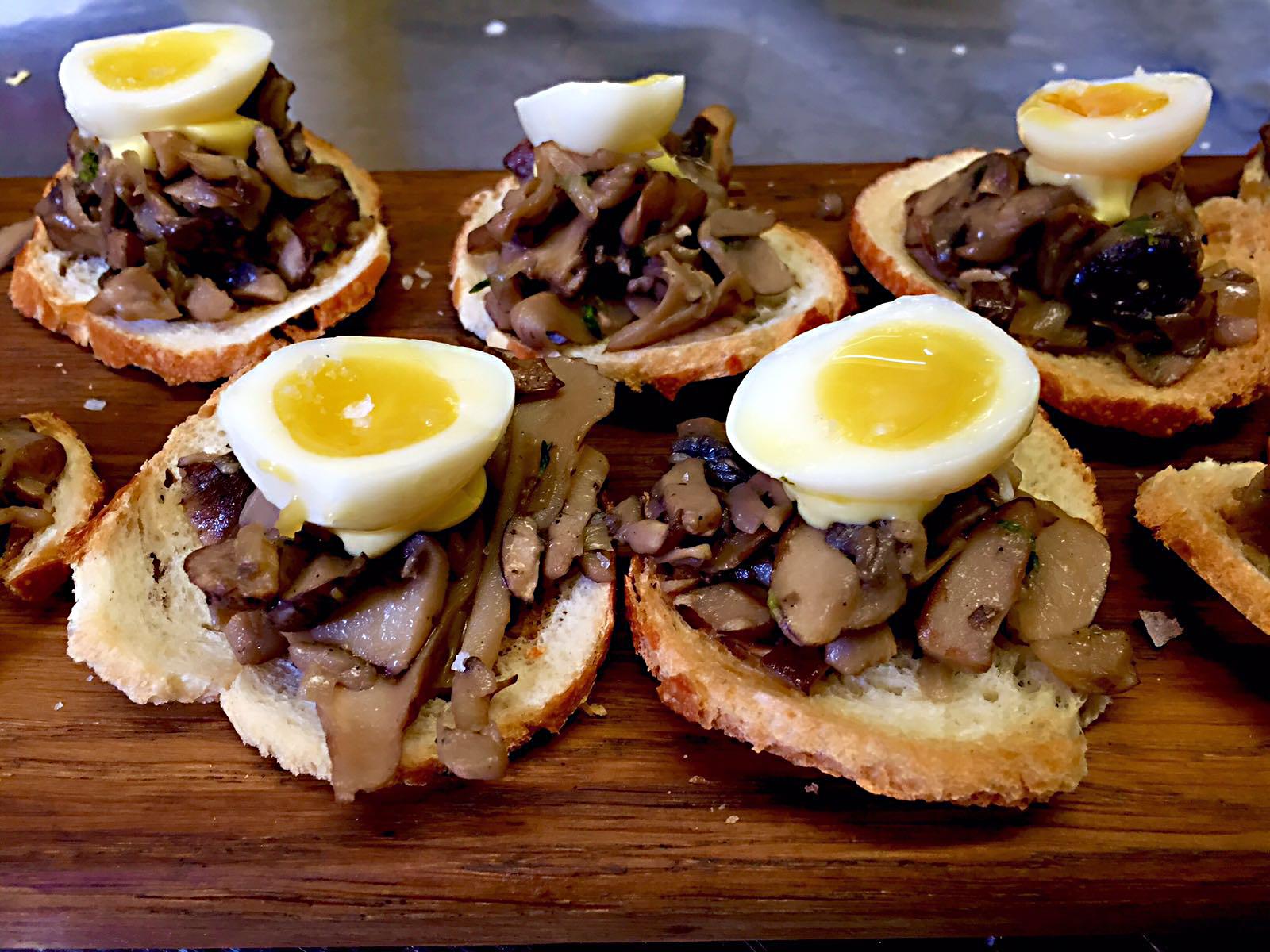 Wild mushroom & quails egg tostada