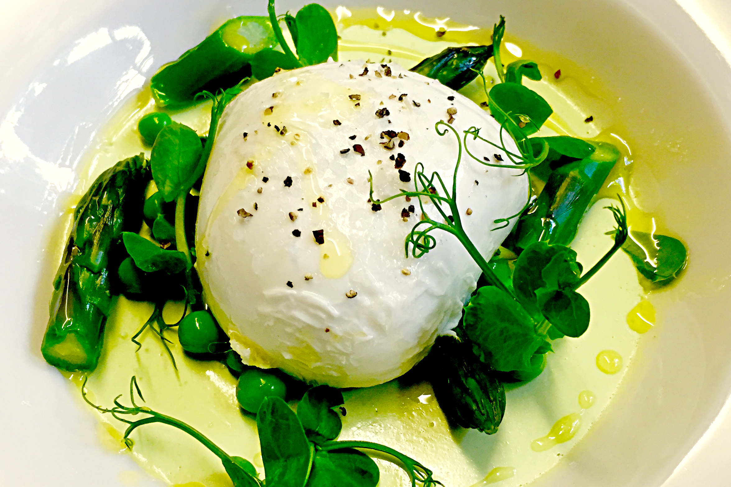 Buffalo mozzarella salad with a minted pea panna cotta , asparagus tips, peas and a lemon oil dressi