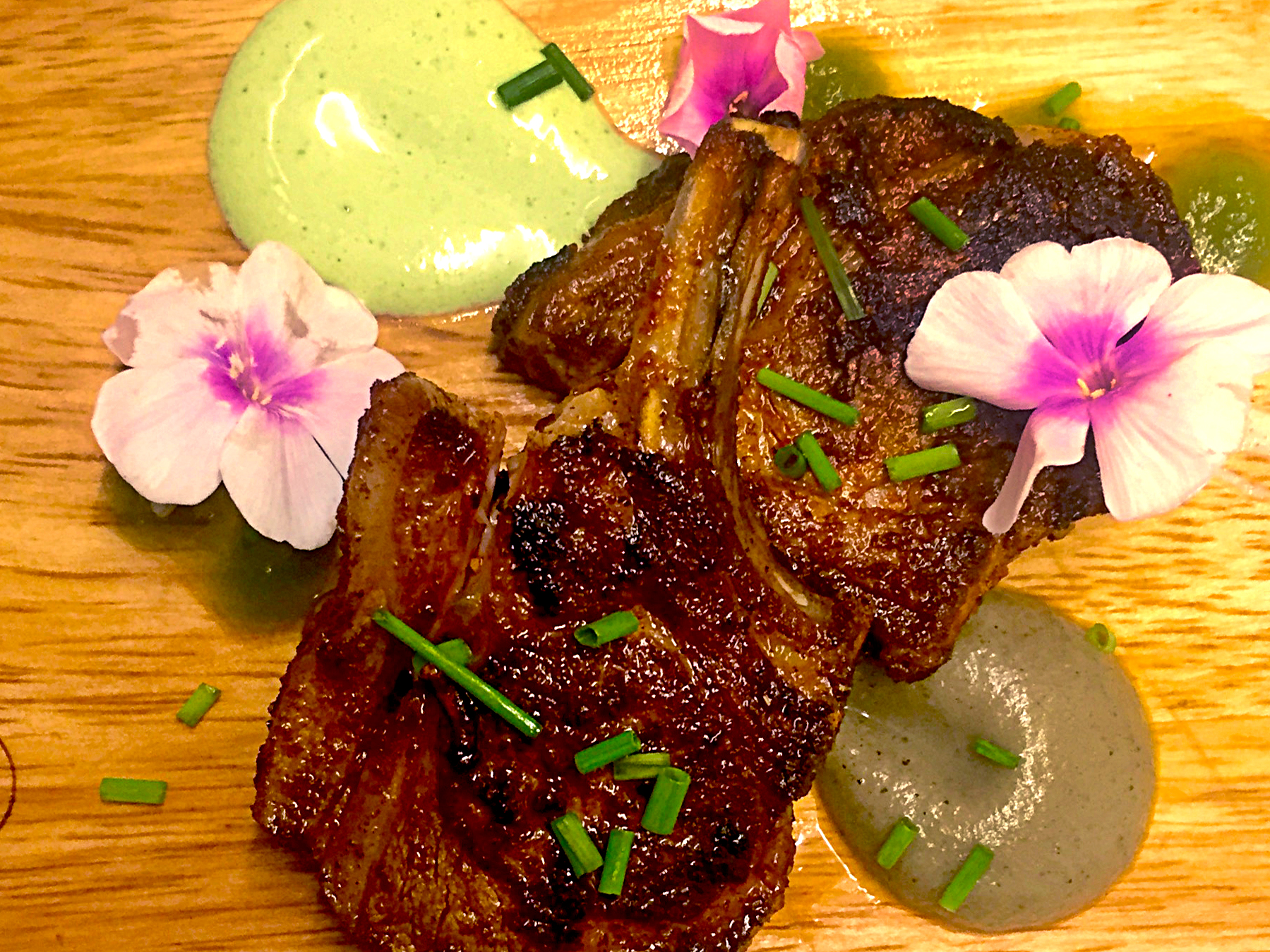 Moorish spiced Lamb cutlets served with a smoked aubergine puree, lemon, mint & yoghurt dressing & c