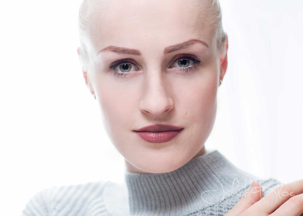winter-themed portrait of blonde woman