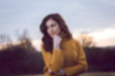Brunette fashion model wearing mustard sweater, autumn photoshoot, portrait photographer, Ellesmere port, Cheshire