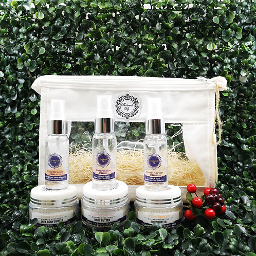3 mini body butters and 3 matching mini spray oils in cosmetic travel pouch