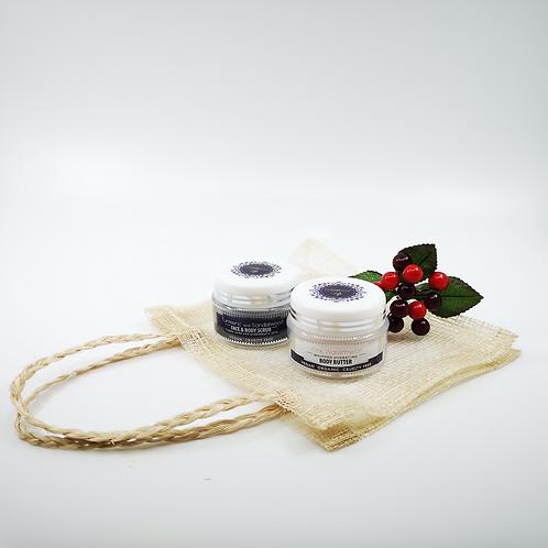 Mini face and body scrub with mini body butter in mesh bag