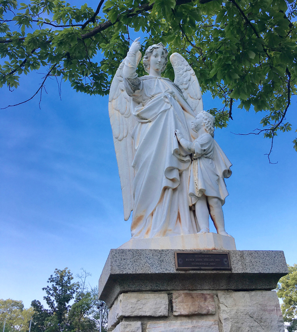 Angel statue at National Shrine Grotto of ​Our Lady of Lourdes, Emmitsburg, MD