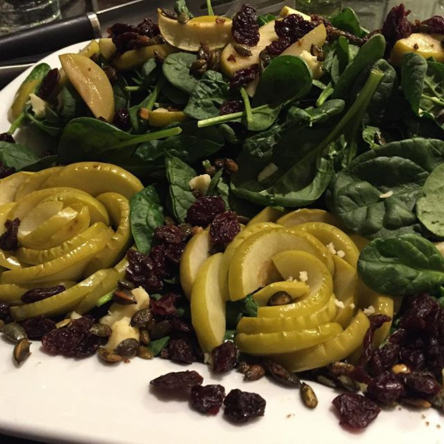 #apple #rosettes #salad #maple #dijon #vinaigrette #driedcherries #eathealthy #vegetarian #charlesto