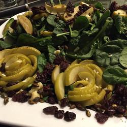 #apple #rosettes #salad #maple #dijon #vinaigrette #driedcherries #eathealthy #vegetarian #charlesto