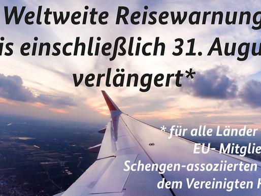 ألمانيا أعلنت اليوم رسميا تمديد حذر السفر حول العالم حتى 31 أغسطس بإستثناء دول الاتحاد الأوربي