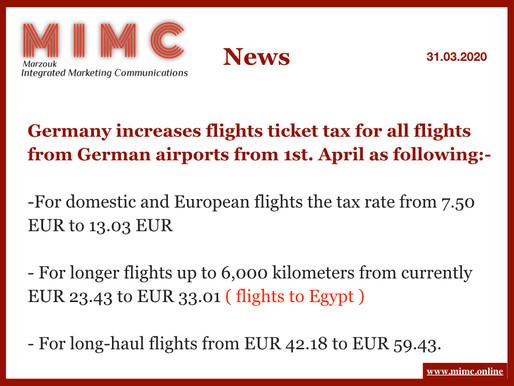 ألمانيا ترفع ضريبة تذاكر الطيران على جميع الرحلات الجوية من المطارات الألمانية
