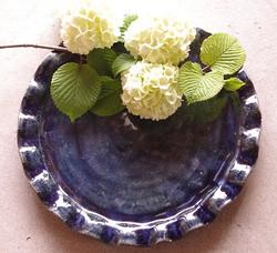 黒呉須フリル皿